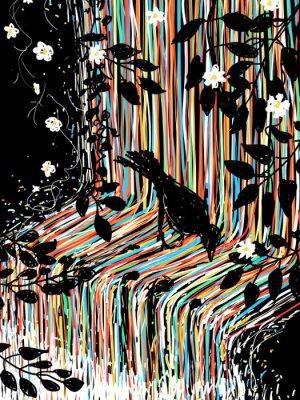 Наклейка Птица и водопад