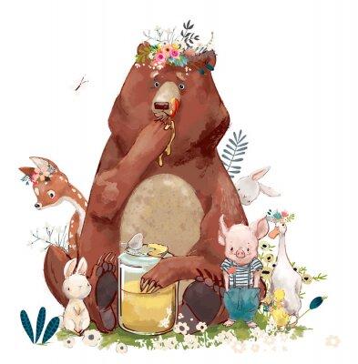 Наклейка на день рождения милые животные - медведь и другие
