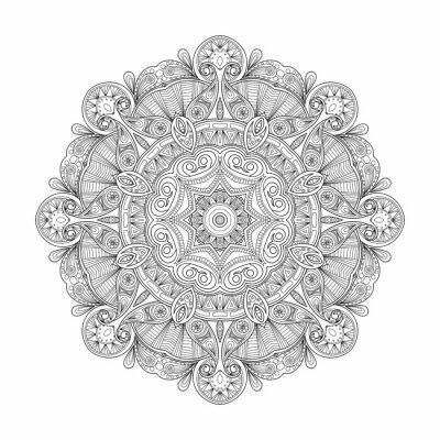 Наклейка Черно-белый абстрактный круговой этнической картины мандалы.