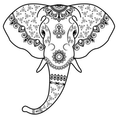 Наклейка Голова Черно-белый слон в Менди Индийский style.Vector иллюстрации на белом фоне