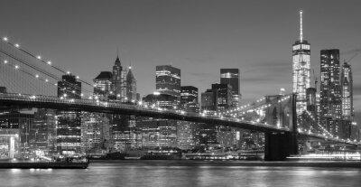 Наклейка Черно-белый Манхэттен набережной в ночное время, Нью-Йорк.