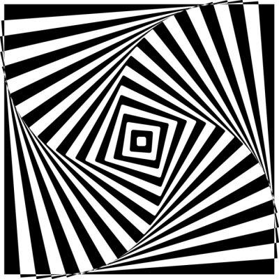 Наклейка Черный и белый Оптические иллюзии Векторные иллюстрации.