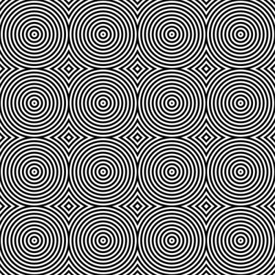 Наклейка Черный и белый круговой Психоделический Текстиль шаблон.