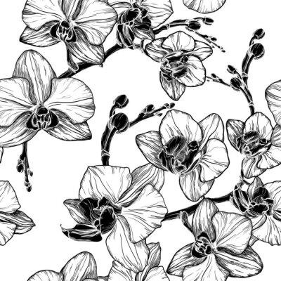 Наклейка черный и белый бесшовные модели с цветами орхидеи