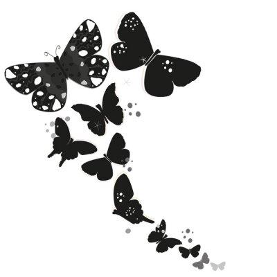 Наклейка Черный дизайн бабочки и абстрактные декоративные цветы вектор фон