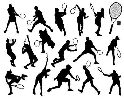 Наклейка Черные силуэты теннисиста, вектор