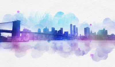 Наклейка Пустой акварель открытку Нью-Йорк