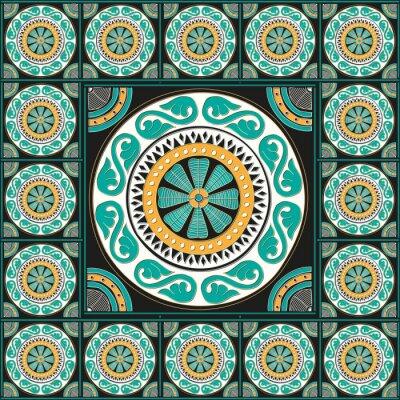 Наклейка Синий романский дизайн плитка