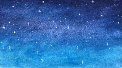 Наклейка Синее звездное небо в акварели