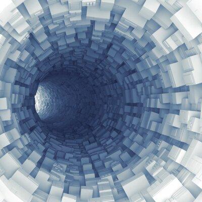 Наклейка Синий туннель с технологическими экструдированных сегментами