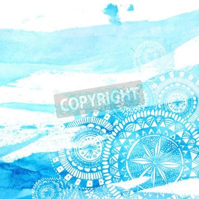 Наклейка Голубой акварель мазки с белым рисованной мандал - круглые каракули индийских элементов. Вектор летний дизайн.