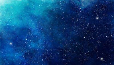 Наклейка Голубая акварель космический фон. Иллюстрационная живопись