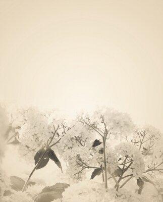 Наклейка Размытые фон сепия цветочные.