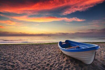 Наклейка Лодка и восход солнца