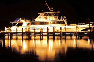 Наклейка Лодка в ночное время / лодка и отражения в Юпитере, Флорида