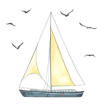 Наклейка Лодка с парусами и чайками сделаны в векторе
