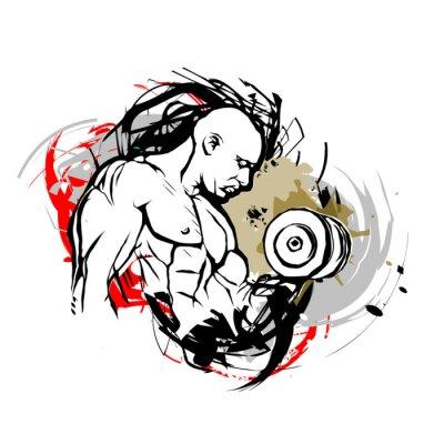 Наклейка bodybuilder illustration