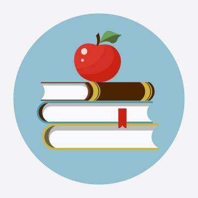 Наклейка Книги с яблоком плоской иконой