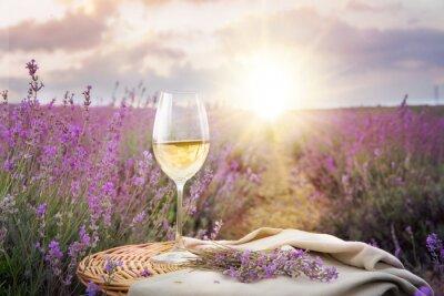 Наклейка Bottle of wine against lavender.