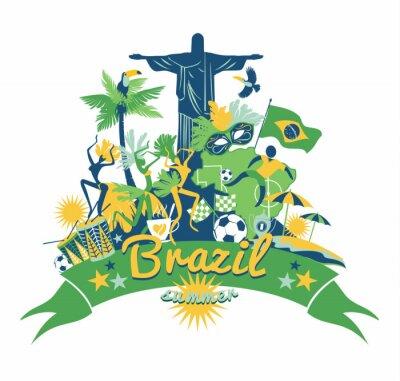 Наклейка Бразилия фон