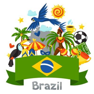 Наклейка Бразилия фон со стилизованными объектами и культурных символов