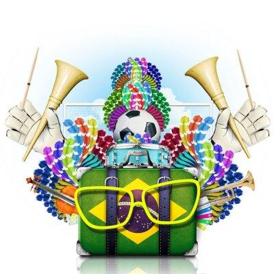 Наклейка Бразилия, чемпионат мира по футболу, фестиваль и карнавал