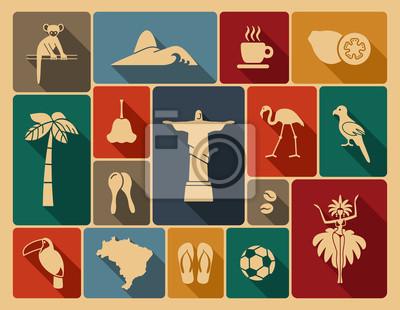 Наклейка Бразильские иконки