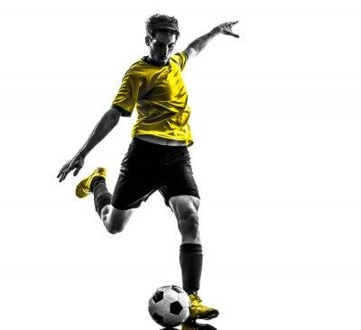Наклейка Бразильский футбол футболист молодой человек ногами силуэт
