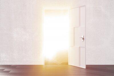 Наклейка Яркий свет из открытой двери пустой комнате