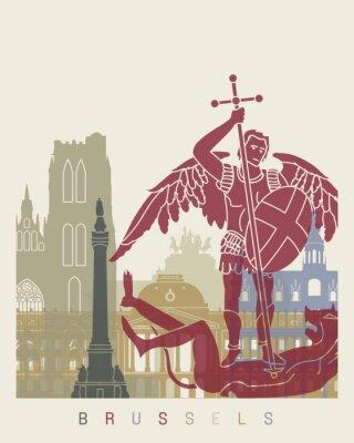 Наклейка Брюссель горизонт плакат