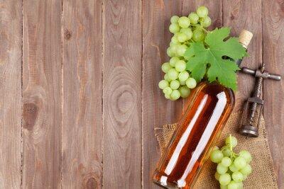 Наклейка Гроздь винограда, белое вино бутылки и штопором