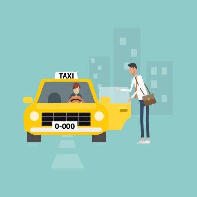 Наклейка деловой человек становится такси идут работать в городской бизнес-