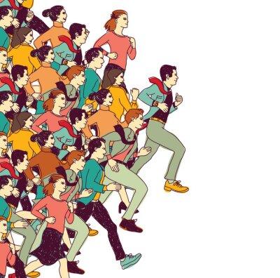 Наклейка Деловые люди большая группа конкуренции цвет