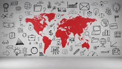 Наклейка Бизнес Symbole Wand мит Weltkarte