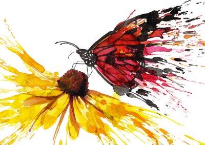Наклейка Бабочка на цветке