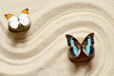 Наклейка Бабочка на песке