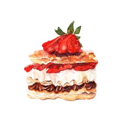 Наклейка Торт с ягодами обращается акварель. Дизайн для баннеров и карт.