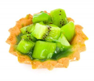 Наклейка Торт с фруктами киви, изолированных на белом