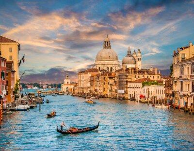 Наклейка Canal Grande с Санта-Мария делла Салюте на закате, Венеция, Италия