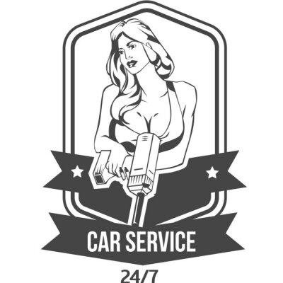 Наклейка техническое обслуживание автомобилей ретро старинные знак с сексуальная женщина держит дрель