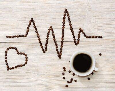 Наклейка Кардиограмма и сердце выложили кофейных зерен с чашкой кофе