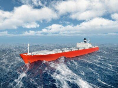 Наклейка Грузовое судно в бушующем океане