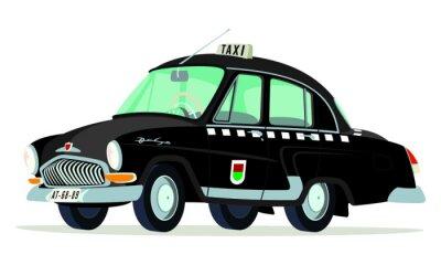Наклейка Карикатура ГАЗ Волга M21 такси Praga - Checoslovaquia Негр перспектива фронтальная у боковой