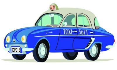 Наклейка Карикатура Renault Dauphine Такси Сайгон Вьетнам - фронтальная перспектива у бокового