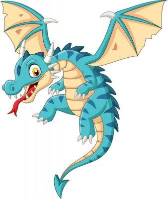 Наклейка Cartoon baby dragon flying on white background