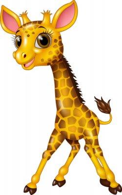 Наклейка Мультфильм ребенок жирафа, изолированных на белом фоне
