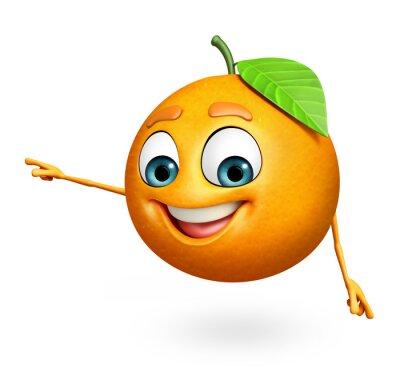 Наклейка Мультипликационный персонаж апельсина