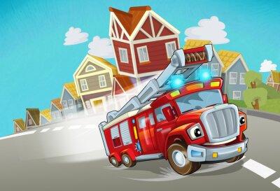 Наклейка cartoon fire brigade driving through the city - illustration for children
