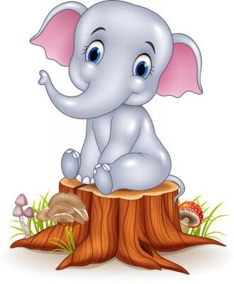 Наклейка Мультфильм смешной ребенок слон сидит на пне