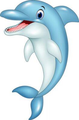Наклейка Мультфильм смешной дельфин прыжки